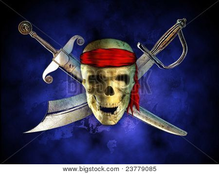 Menacing pirate skull with two crossed swords on background. Digital illustration.