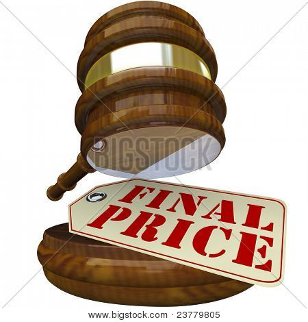 A wooden gavel coming down on a price tag marked Final Price representing the closing bid on an auctioned item in a special sale or auction