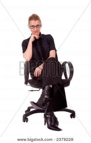 Business Woman In Office Chair