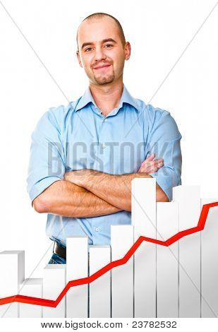 confident man and 3d chart