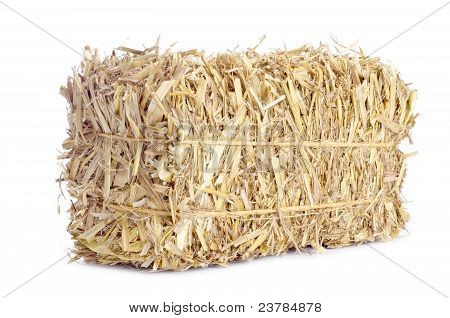 Bale of Hay Isolated on White