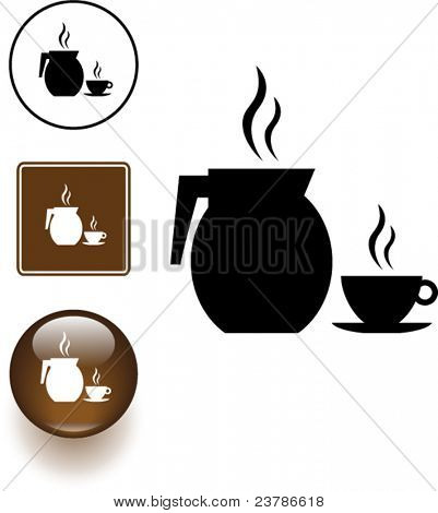 hot coffee jar and cup symbol sign and button