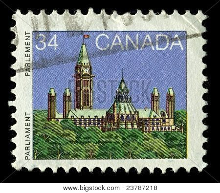 CANADA-CIRCA 1985:A stamp printed in CANADA shows image of the Parliament of Canada  is the federal legislative branch of Canada, seated at Parliament Hill in the national capital, Ottawa, circa 1985.