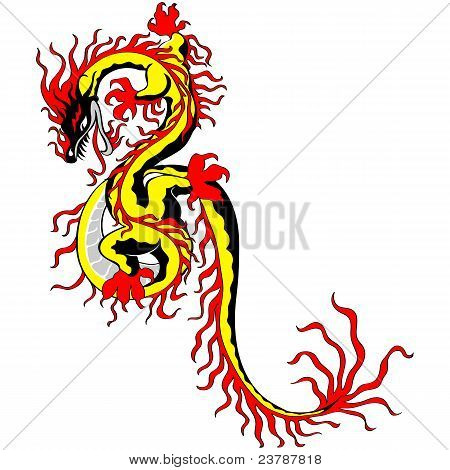 Vector Tradition Asian Chinese Golden Dragon Fire