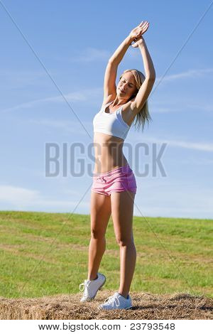 Stretching Sport Fit Woman Summer Blue Sky