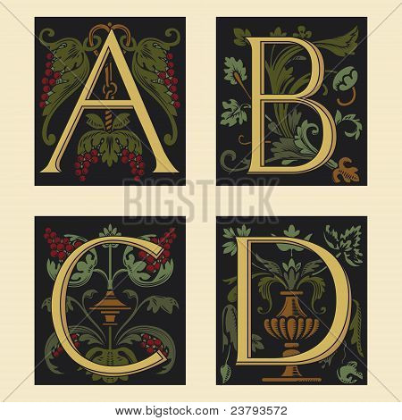 Sixteenth-Century alphabet A B C D in editable vector file
