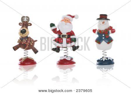 Snowman, Santa, And Reindeer