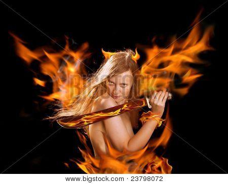 Warrior Devil Woman In Fire