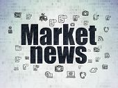 News Concept: Painted Black Text Market News On Digital Data Paper Background With  Hand Drawn News  poster