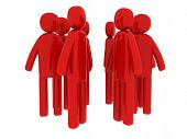 Red Men Walking Around - Social Themes