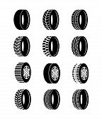 Vector Illustration Set Of Tire And Wheels Black Color Icons On White Background. Different Wheel Ty poster