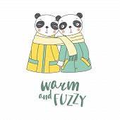 Hand Drawn Vector Illustration Of A Couple Of Cute Funny Pandas In Coats, Holding Hands And Wrapped  poster