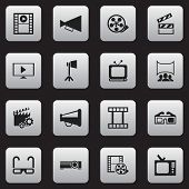 Set Of 16 Editable Movie Icons. Includes Symbols Such As Megaphone, Movie Strip, Start And More. Can poster