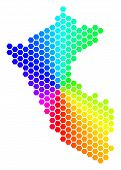 Hexagon Spectrum Peru Map. Vector Geographic Map In Bright Colors On A White Background. Spectrum Ha poster