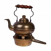 Brass Teapot With Wooden Handle That Is Located On A Coal Stand. Isolated On A White Background poster