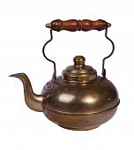 Brass Teapot With Wooden Handle. Isolated On A White Background poster