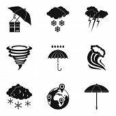Weather Icons Set. Simple Set Of 9 Weather Vector Icons For Web Isolated On White Background poster