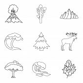 Warm Climate Icons Set. Outline Set Of 9 Warm Climate Vector Icons For Web Isolated On White Backgro poster