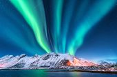 Aurora Borealis. Lofoten Islands, Norway. Aurora poster