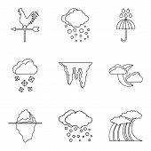 Weather Conditions Icons Set. Outline Set Of 9 Weather Conditions Vector Icons For Web Isolated On W poster