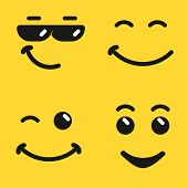 Smiling Face Emoji, Yellow Smiley Face Emoticon With Sunglasses, Cartoon Comic Character. Vector Ico poster