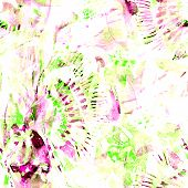 Watercolor Tropical Seamless Pattern. Ikat Colorful Paint Background. Abstract Geometric Watercolour poster