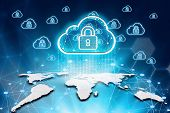 Virtual Screen Padlock And Cloud Computing Global Network Cyber Security Data Protection Business Te poster