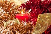 Christmas Candle Light And Ribbon