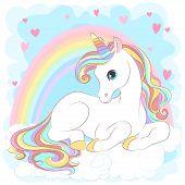 White Unicorn With Rainbow Hair poster