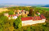 Klenova castle was built in 1291 as a part of the frontier defence system. Aerial view of famous Cze poster