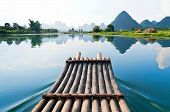 stock photo of raft  - Bamboo rafting in Li River Guilin  - JPG