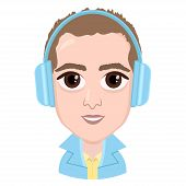 Cartoon Character, Vector Drawing Portrait Boy In Headphones Listening To Music, Smile Emotion, Icon poster
