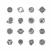Global World, Globe Outline Icons. Earth, Map And Travel Simple Line Vector Symbols. Illustration Of poster