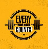 Every Workout Counts. Sport Motivation Quote. Fitness Motivational Saying. Vector Typography At Grun poster