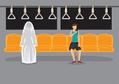 Cartoon Woman Sitting Alone In Metro Using Hand Phone And Unaware Of A Ghost Beside Her. Creative Ve poster