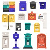 Retro Street Postbox Collection With Vertical Pillar Letter-box, Public Wall Letterboxes And Mail Po poster