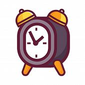 Vintage Alarm Clock Icon. Retro Style Bell Timepiece. Classic Antique-styled Twin Bell Morning Wakeu poster