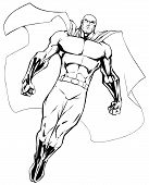 Full Length Illustration Of Powerful Superhero Looking Down While Soaring In The Sky. poster