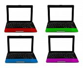colorful open laptops on white background