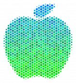 Halftone Round Spot Apple Icon. Pictogram In Green And Blue Color Hues On A White Background. Vector poster