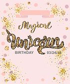 Magical Unicorn Birthday. Handwritten Lettering Unicorn, Magical, As Patch, Stick Cake Toppers, Lase poster