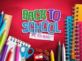 Back To School Vector Design With Education Elements, School Supplies And Colorful Paper Cut Back To poster