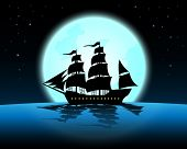 Large Marine In The Night Of Full Moon;blue Ocean With Marine At Midnight With Full Moon;star On The poster