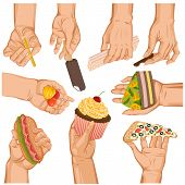 Hands With Cake Vector Arm Holding Cupcake Or Sweet Confection Dessert Icecream Illustration Set Of  poster