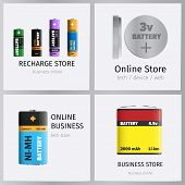 Recharge Online Business Store Elements Banners Set. Powerful Batteries For Electronic Units With Va poster