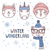 Set Of Hand Drawn Cute Funny Portraits Of Cat, Bear, Unicorn, Owl In Different Warm Hats, Text Winte poster
