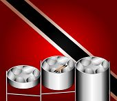 foto of steelpan  - Vector Illustration of flag with three variations of Steel Pan Drums with invented in Trinidad and Tobago - JPG