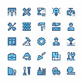 Construction, Repair Tools Line Icons Set. Modern Graphic Design Concepts, Simple Symbols, Pictogram poster
