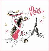 The Girl In The Hat Drinks Coffee.  Fashion Model In Paris. Eiffel Tower. Romantic Composition. Eleg poster