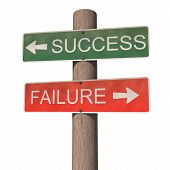 Success And Failure Signpost. Isolated On The White Background
